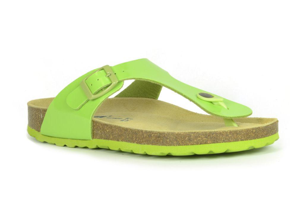 4c3753a924bc18 ... Sanosan Geneve Lacquered Green Womens Designer Thong Sandals ...