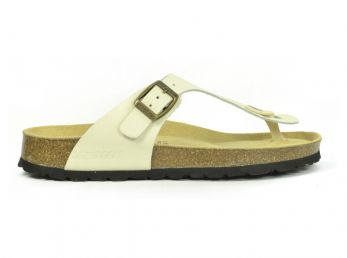Sanosan Geneve Leather Ivory Womens Designer Thong Sandals