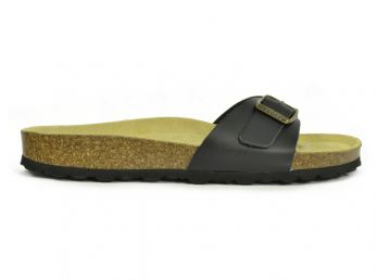 Sanosan Malaga Leather Black Womens Designer Mule Sandals