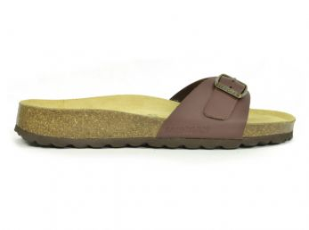 Sanosan Malaga Leather Dark Brown Womens Designer Mule Sandals