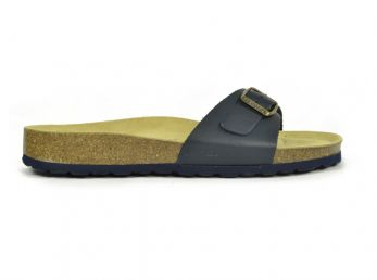 Sanosan Malaga Leather Navy Womens Designer Mule Sandals